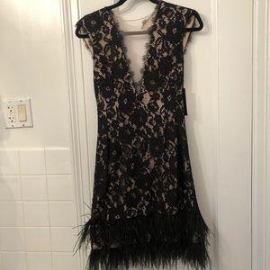 NWT Aidan Mattox Black Lace and Feather Dress 6